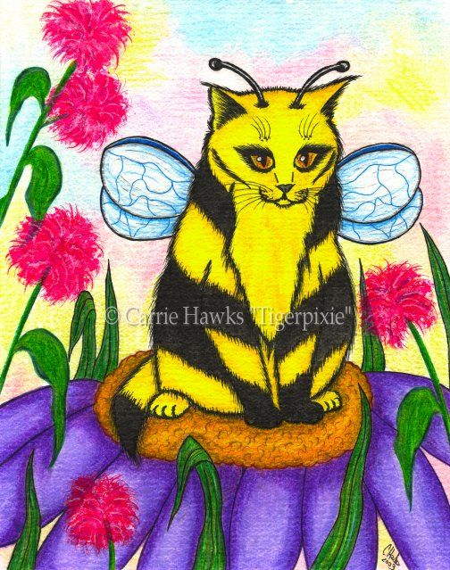 """Buzz The Bumble Bee Fairy Cat"" Buzz is a little shy. He has gotten a little chubby and is worried about what the other fairy cats think of him. Not to worry Buzz! Your still as cute as ever and your little wings get you everywhere you need to go. Prints & Gift Items featuring this image are available on my website. © Carrie Hawks, Tigerpixie Art Studio, Fantasy Cat Art Tigerpixie.com"