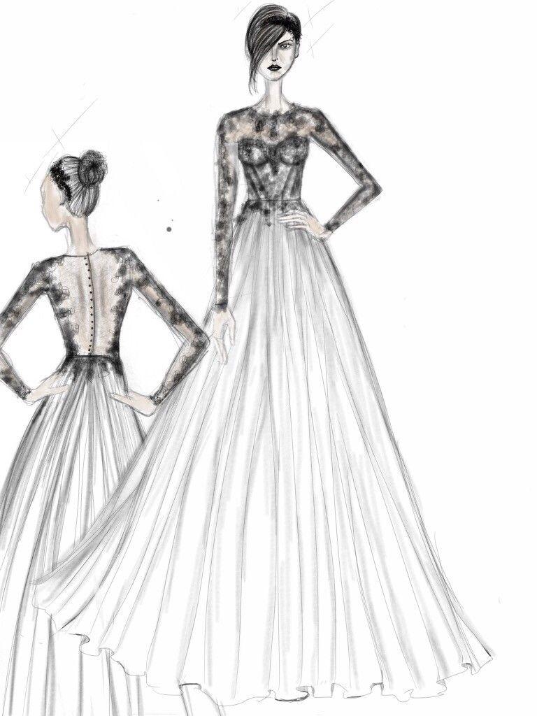 Priscilla Costa Bridal Custom Made Sketch Lace Wedding Dress Lace Long Sleeve Full Wedding Dress Drawings Wedding Dresses Lace Ballgown Ball Gowns Wedding