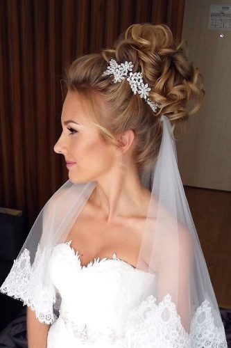 Ideas For Wedding Hairstyles Updo With Veil High Bun Bridal Hair Veil Veil Hairstyles Wedding Hairstyles Updo
