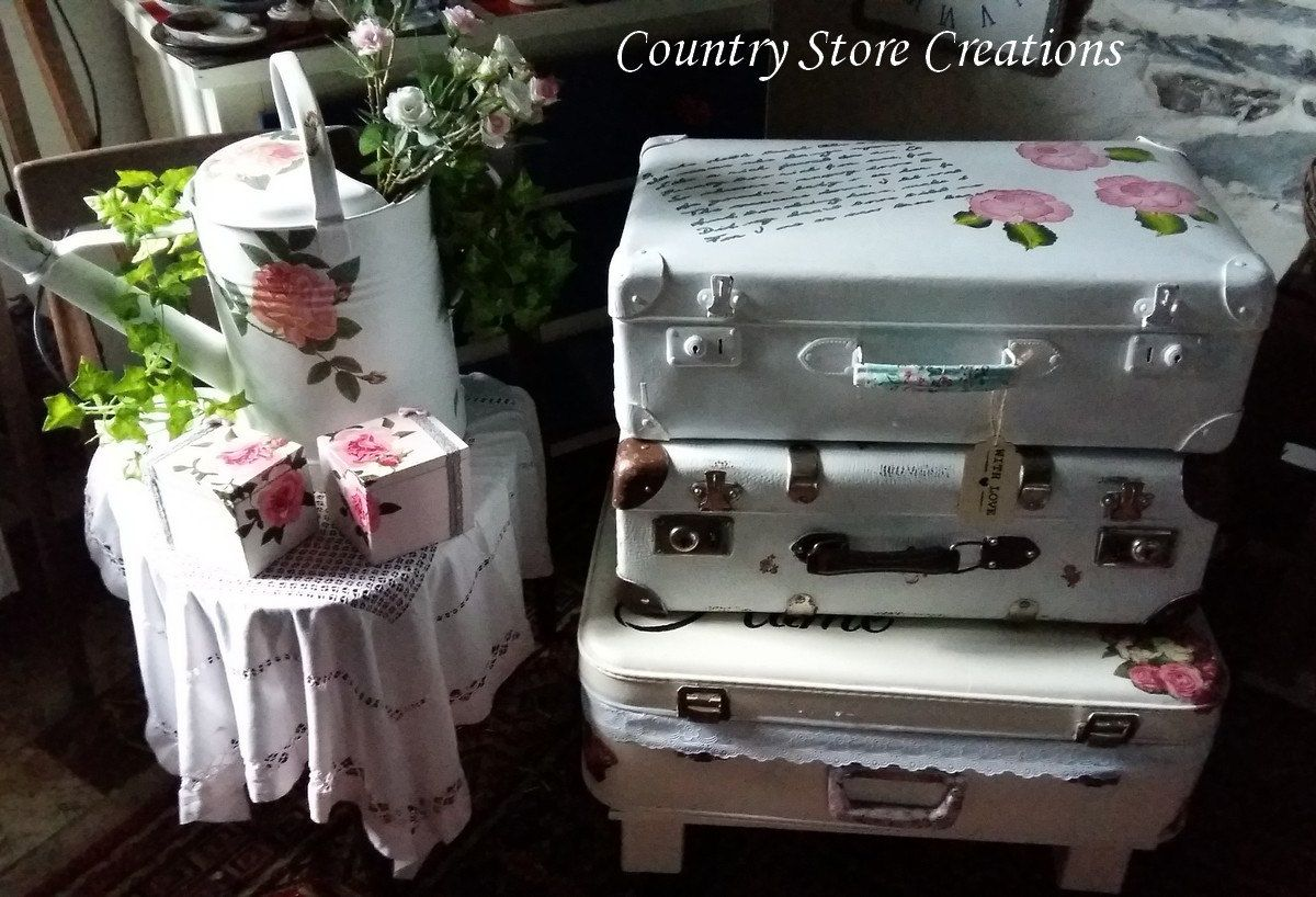 Suitcase With Love shabbychic by CountryStoreCreation on Etsy