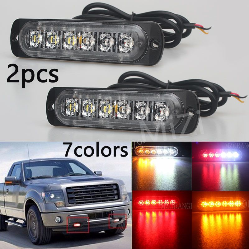 Strobe Lights For Cars Custom 2Pcs 12V Led Strobe Emergency Warning Light Amber Red Blue Police