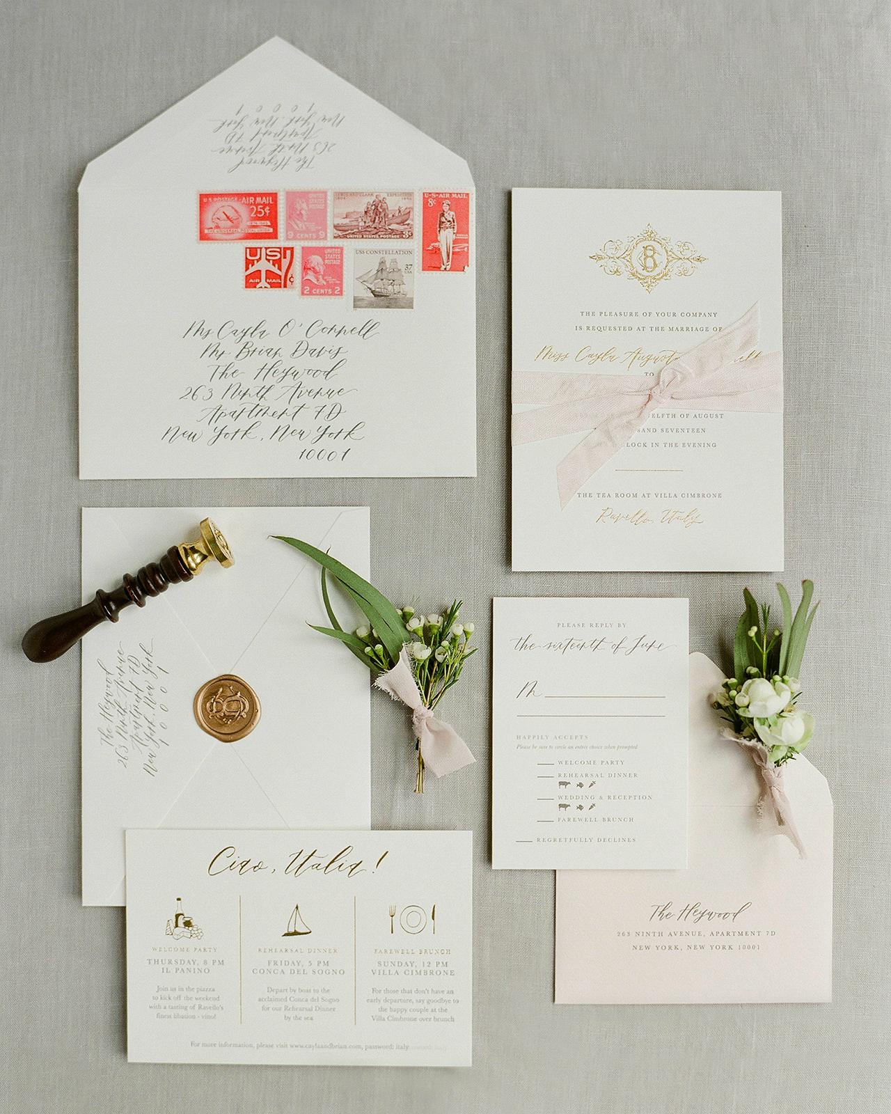 Classic Neutral Italian Destination Wedding Invitations ...