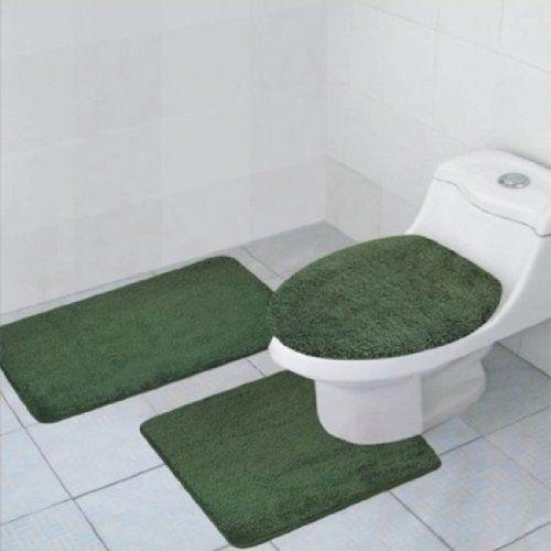 3 Piece Quinn Solid Bathroom Accessory Set Bath Mat Contour Rug Toilet Lid Cover Sage Green Green Bathroom Rugs Hunter Green Bathroom Rugs Bathroom Rug Sets