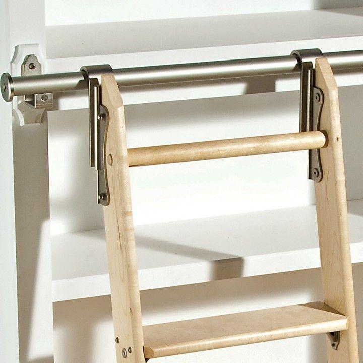 Elegant Rockler Classic Rolling Library Ladder   Ladder Hardware, Satin Nickel