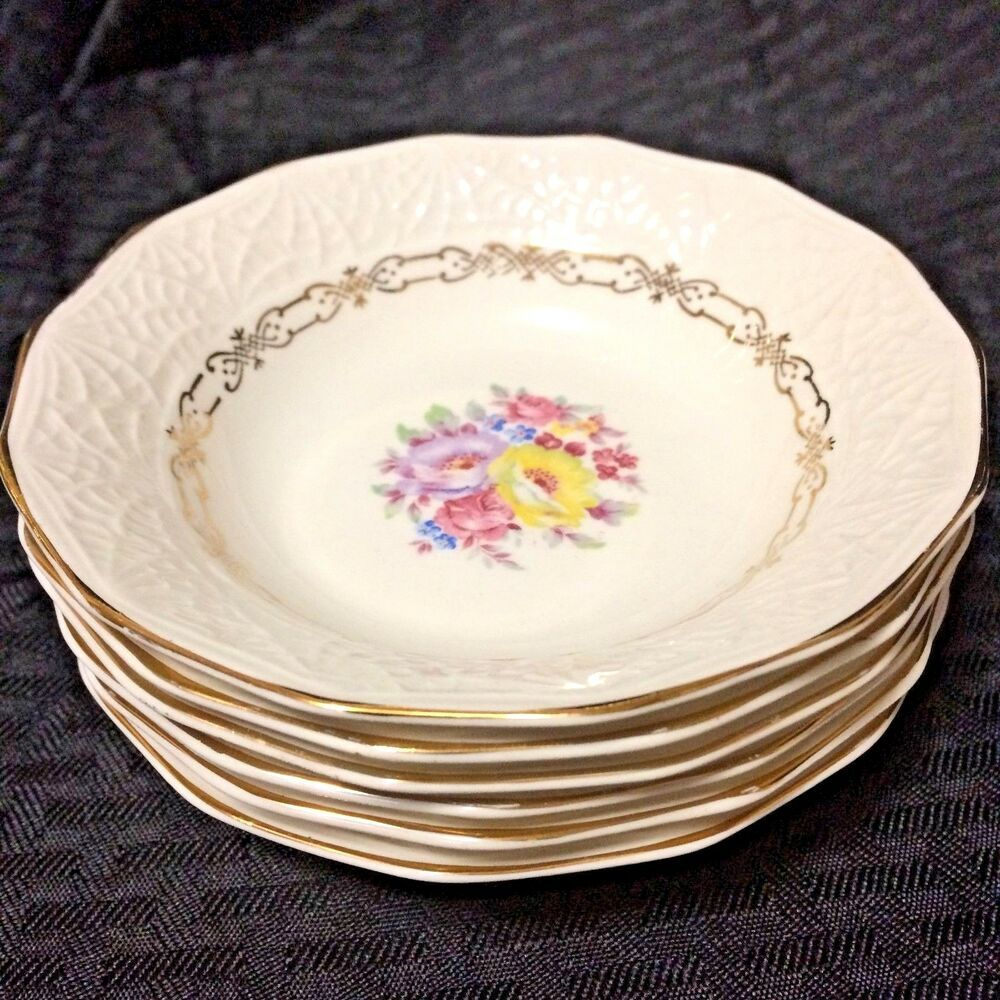 """Syracuse China Old Ivory /""""MONTICELLO/"""" ~ Set of 4 ~ Soup Bowls ~ 7 5//8/"""""""
