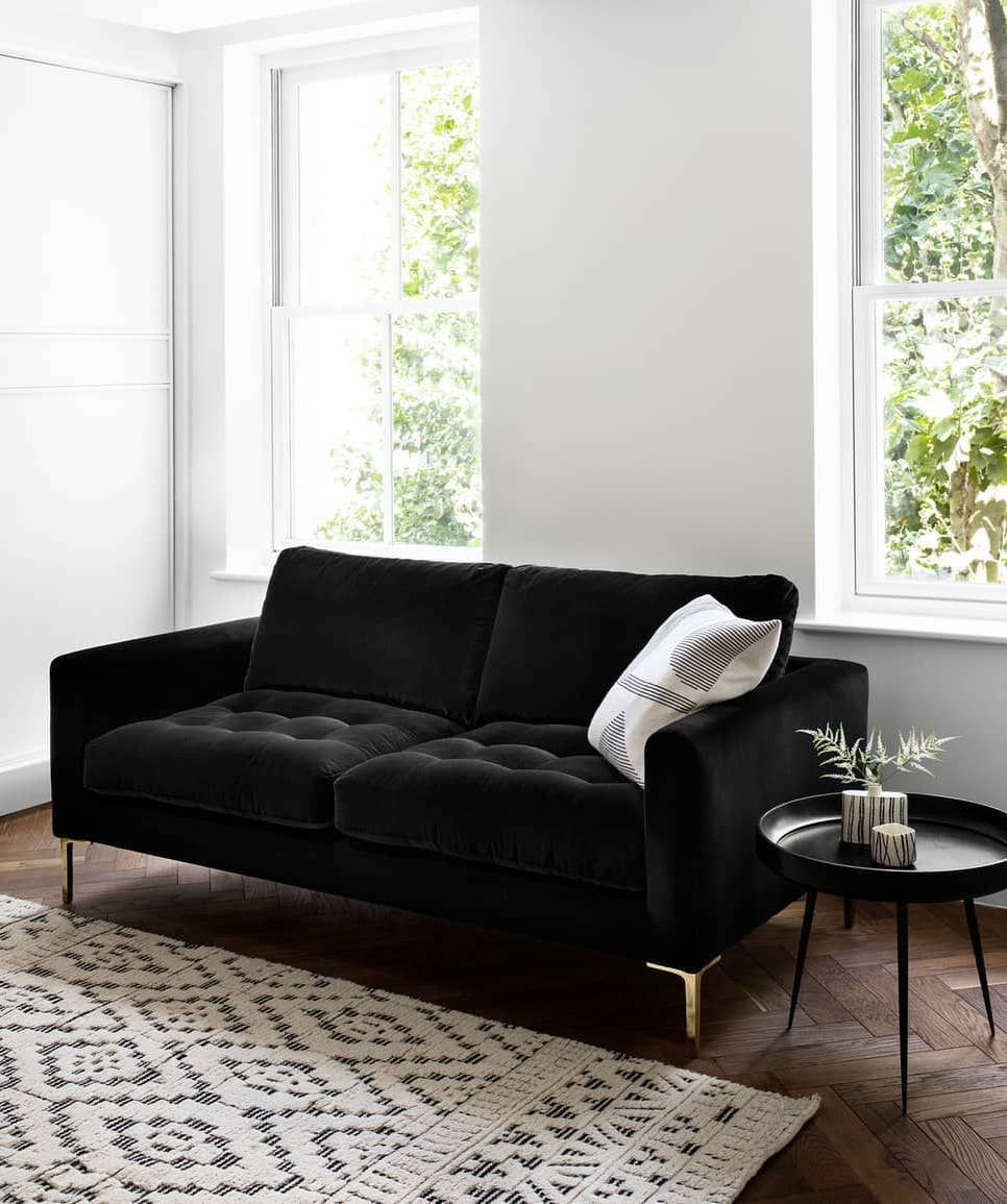 10 Black Sofas For A Dramatic Look Black And White Living Room