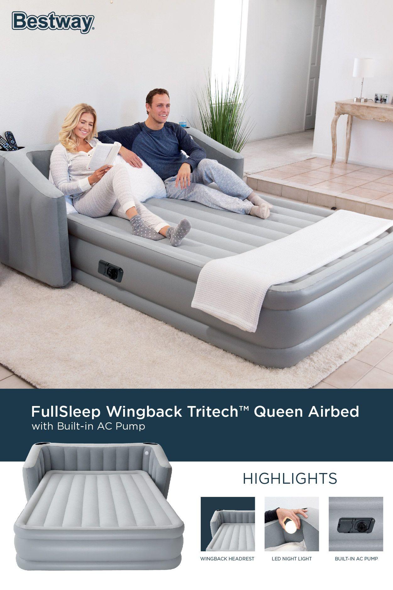 Fullsleep Wingback Tritech Queen Airbed Air Mattress Inflatable Mattress Headboard