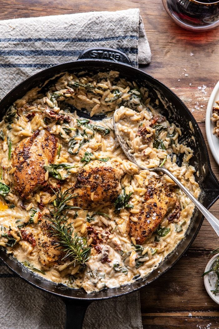 One Skillet Creamy Sun-Dried Tomato Chicken and Orzo. #beverages