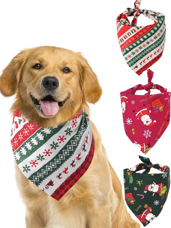 Dog Christmas Bandanas 2020 HOMEWOOT 3 Pack Christmas Dog Triangle Scarf Pet Bandanas for Pet
