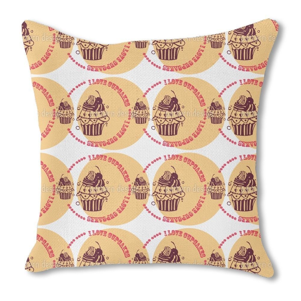 Uneekee Cupcake Love Cream Burlap Pillow Double Sided (20x20, Double Sided), Multi, Size 20 x 20 (Polyester)