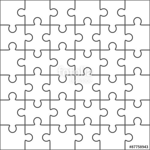 Vector Jigsaw Puzzle Blank Template 36 Pieces Puzzle Piece