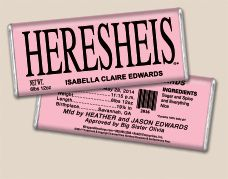 Heresheis Hereheis Baby Announcements Hershey S Chocolate Bars And Wrappers Wra Baby Shower Chocolate Baby Shower Chocolate Favors Pink Baby Shower Favors