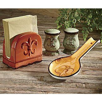 Tuscany Colorful Hand Painted Fleur De Lis Stove Top Set Napkin Salt Pepper And At Kitchen Sensation