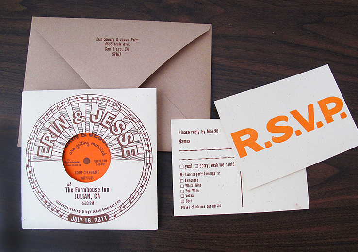 record style letterpress wedding invitations.