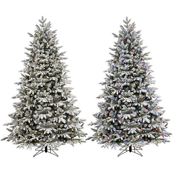 Shop Ge 7 5 Ft Pre Lit Alaskan Fir Full Flocked Artificial Christmas