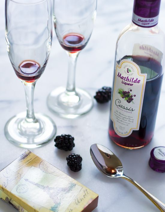 Kir Royale - Classic French cocktail made with creme de cassis currant liqueur and champagne