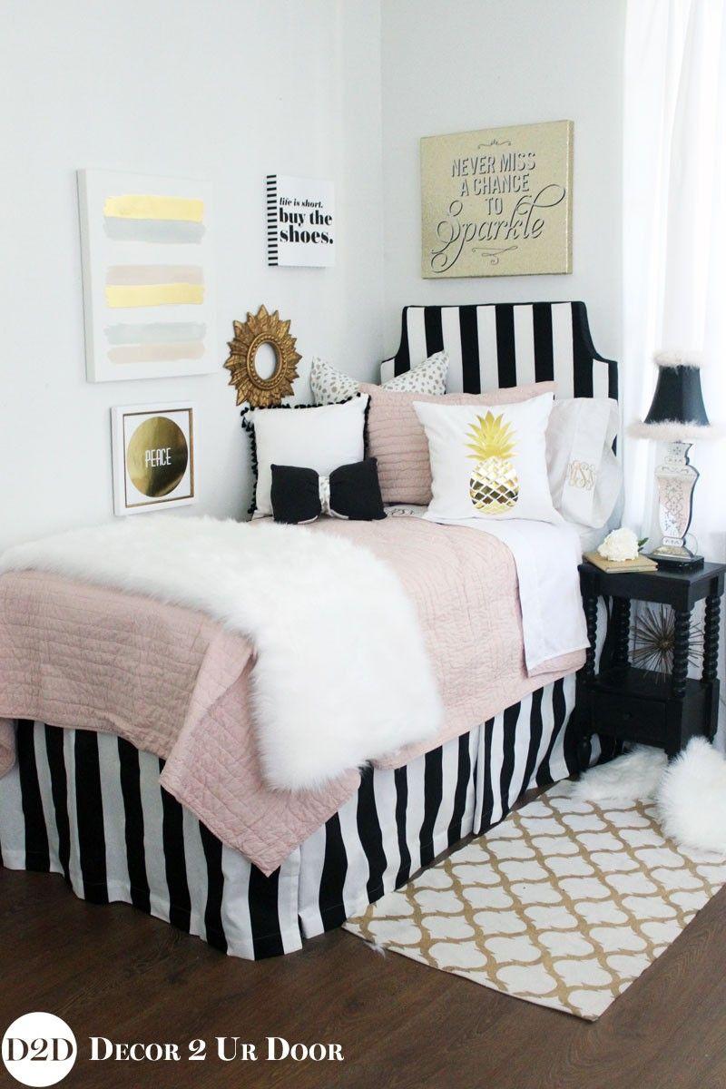 Blush Black Gold Fur Designer Apartment Bedding Set Dorm Room