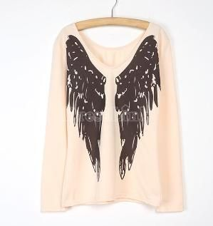 High Quality Women's Fashion Loose V-neck Long Sleeve Wing Print Blouse Top T-shirt by Dresslink