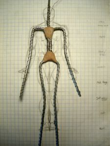 Human Armature Model Armature Laid On Top Of Figure Drawing
