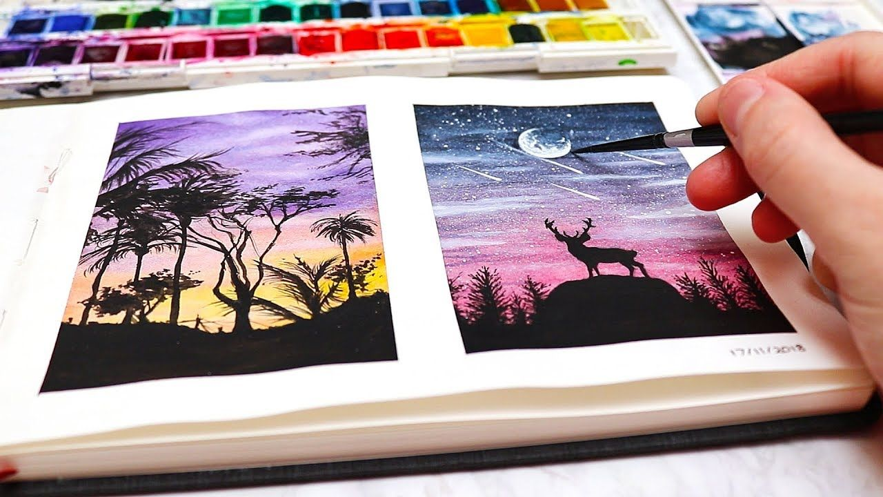 Easy Watercolor Painting Ideas For Beginners Watercolor Silhouette Paintings Youtube Watercolor Paintings Easy Silhouette Painting Easy Watercolor