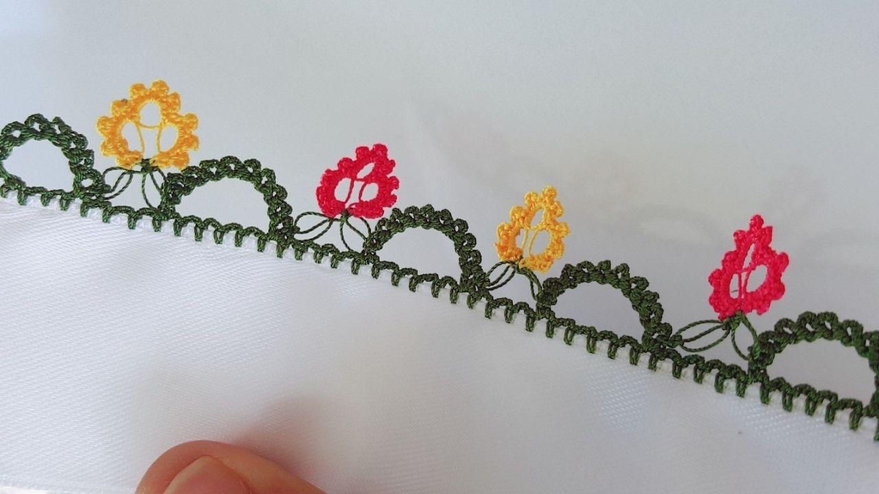 Tek Sıra Mini Çiçekler Modeli Oya Yapılışı Anlatımlı Türkçe Videolu