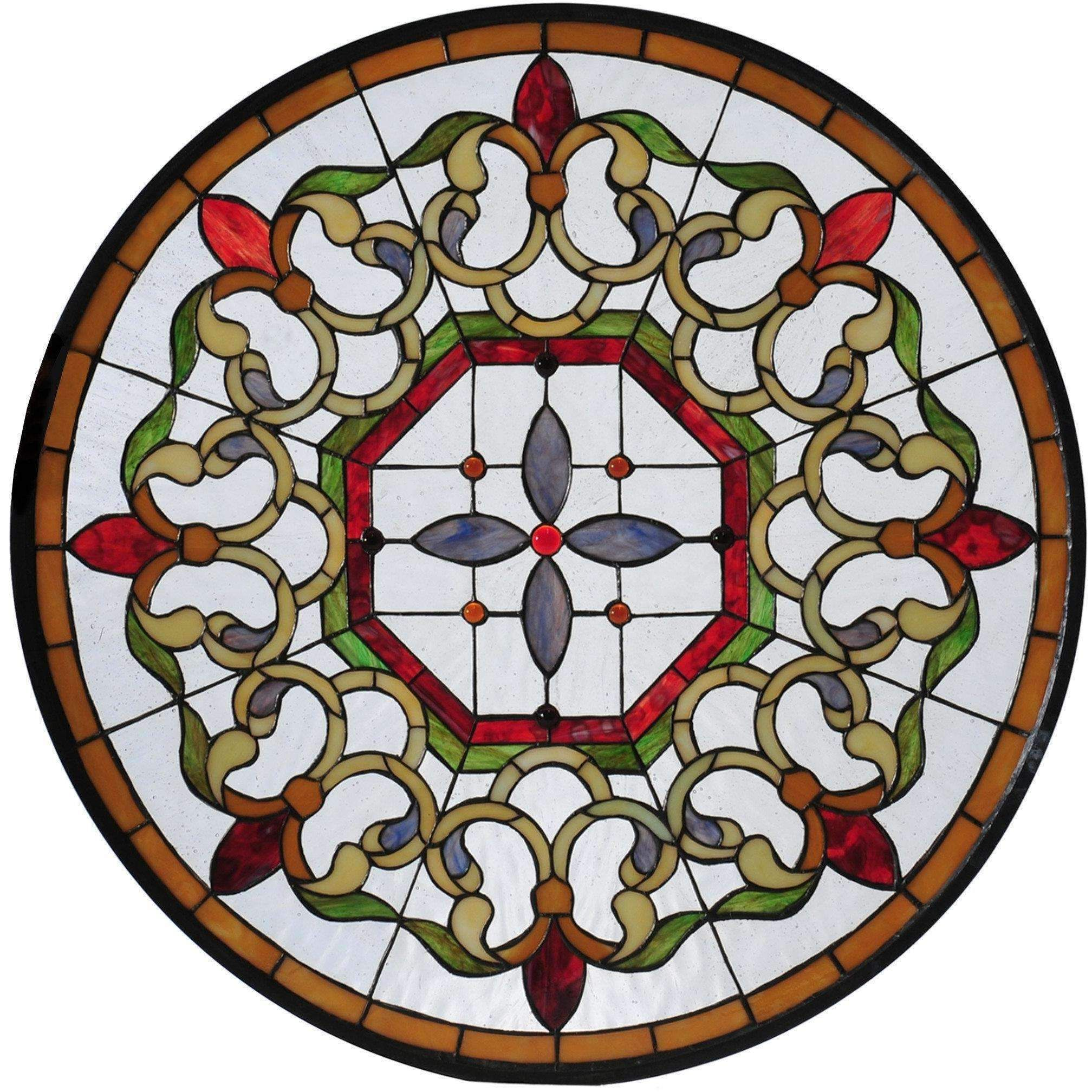 medallion glass de tiffany stained fleur lis meyda window