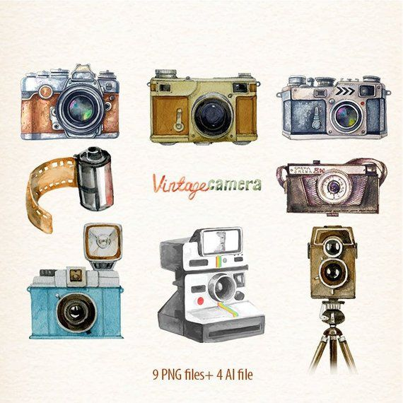 Vintage camera clipart Retro watercolor cameras Photo Film Vector Clipart