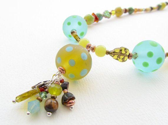 Glass Bead Necklace, Mojito Dots