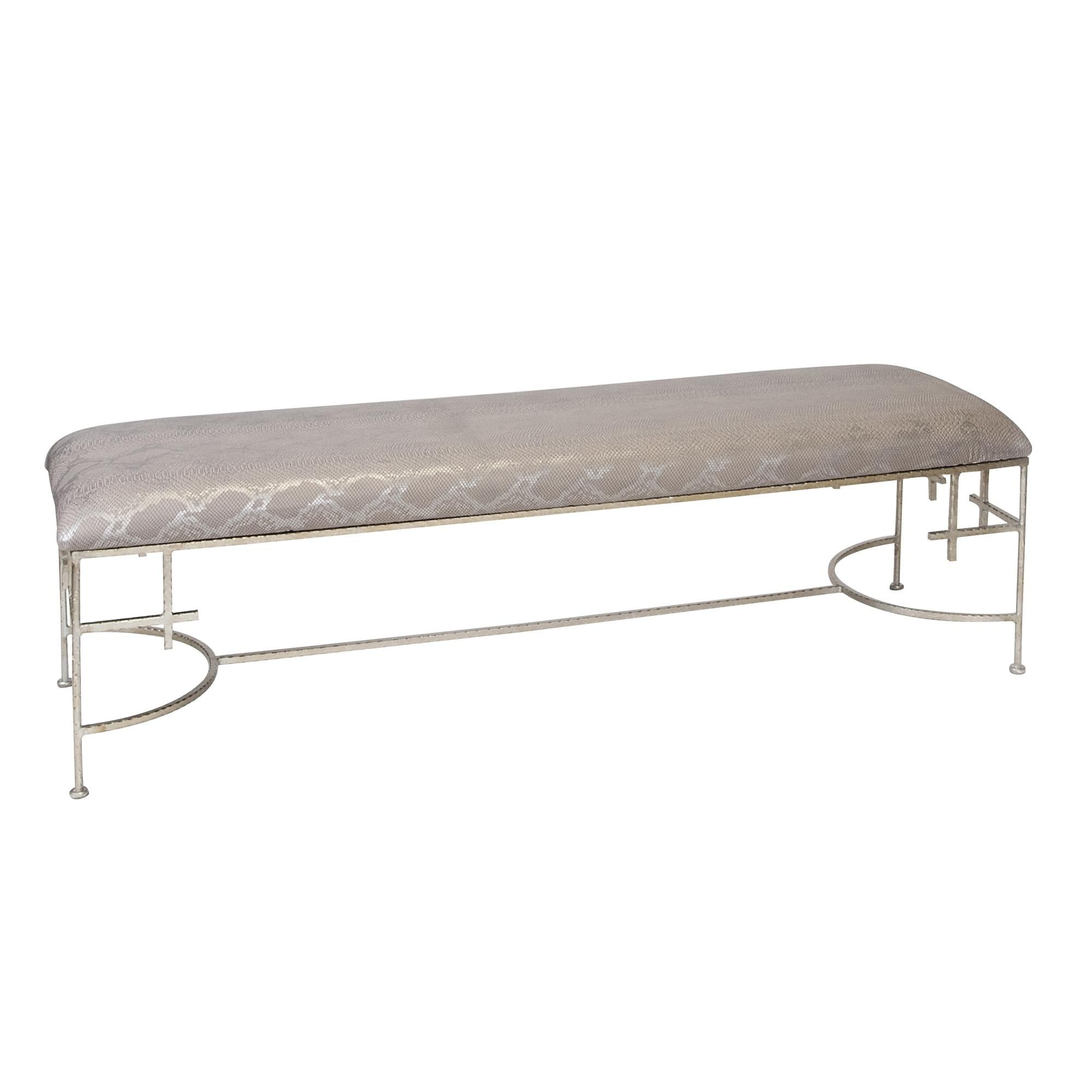 Admirable Worlds Away Augusta Silver Leaf Bench With Faux Snake Skin Machost Co Dining Chair Design Ideas Machostcouk