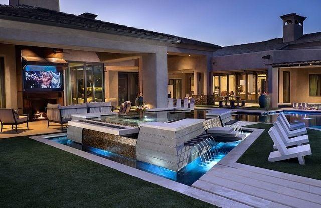 Eingangsbereich gestalten garten  Haus Garten-Terrasse Offene Gestaltung-Wasserfall Brunnen ...