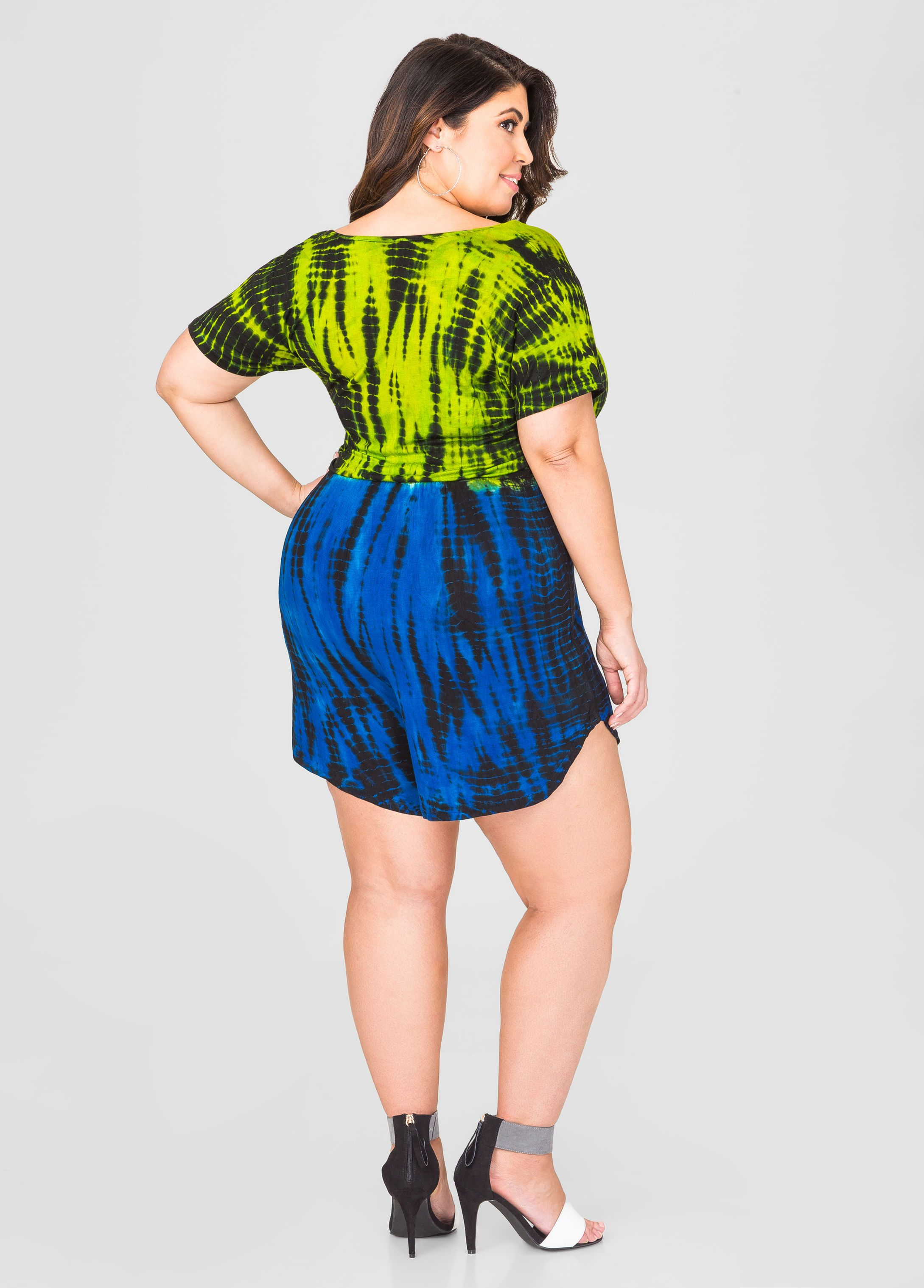 798857bb247 Surplice Tie Dye Romper - Ashley Stewart. Surplice Tie Dye Romper - Ashley  Stewart Best Plus Size Clothing ...
