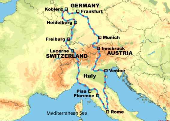 Road Map Of Germany And Austria.Germany Italy Switzerland And Austria European Motorhome Tours