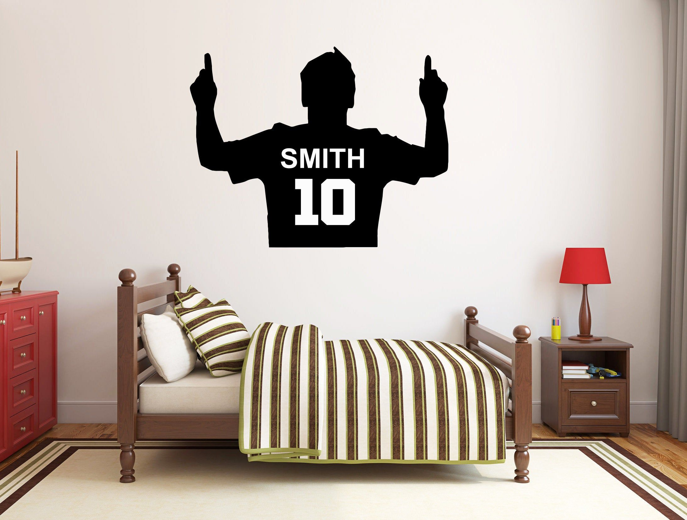 Personalized Name Soccer Wall Decal Soccer Player Wall Sticker