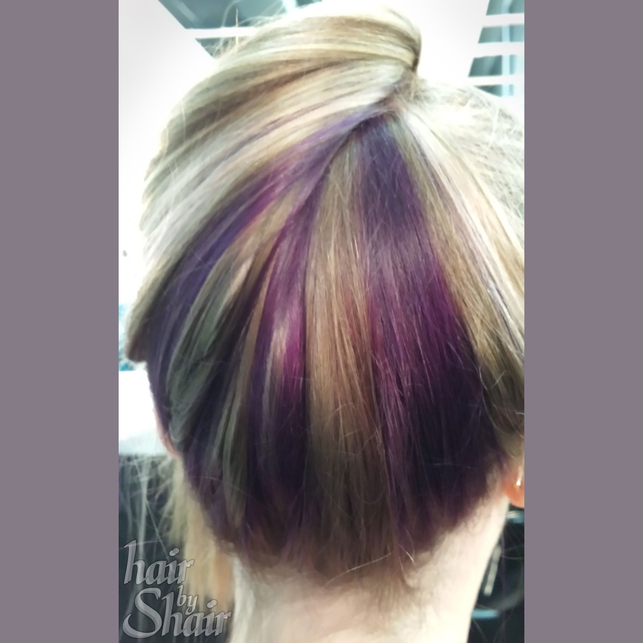 Blonde Purple Peekaboo Straight Long Hair Highlights
