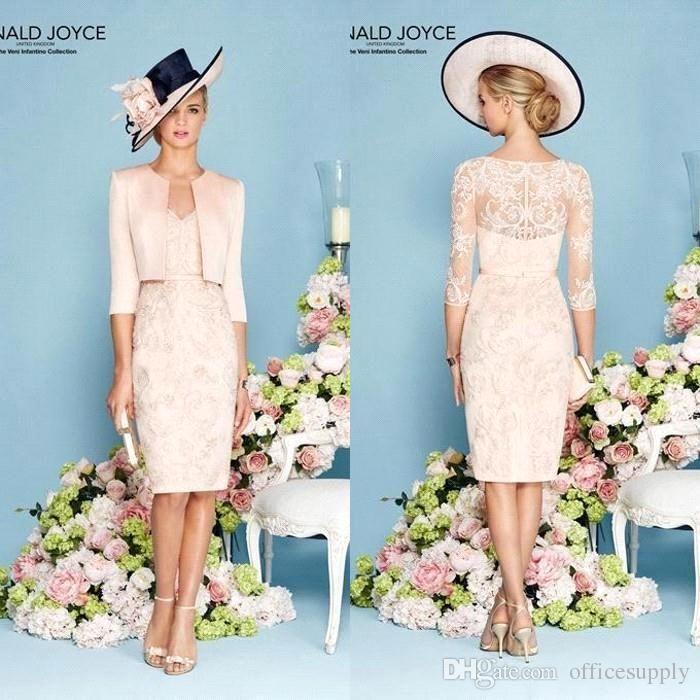 Ronald Joyce 2016 Elegant Sheath Mother Of The Bride Dresses With Jacket V Neck Half Sleeves Lace Formal Wear Ba1281