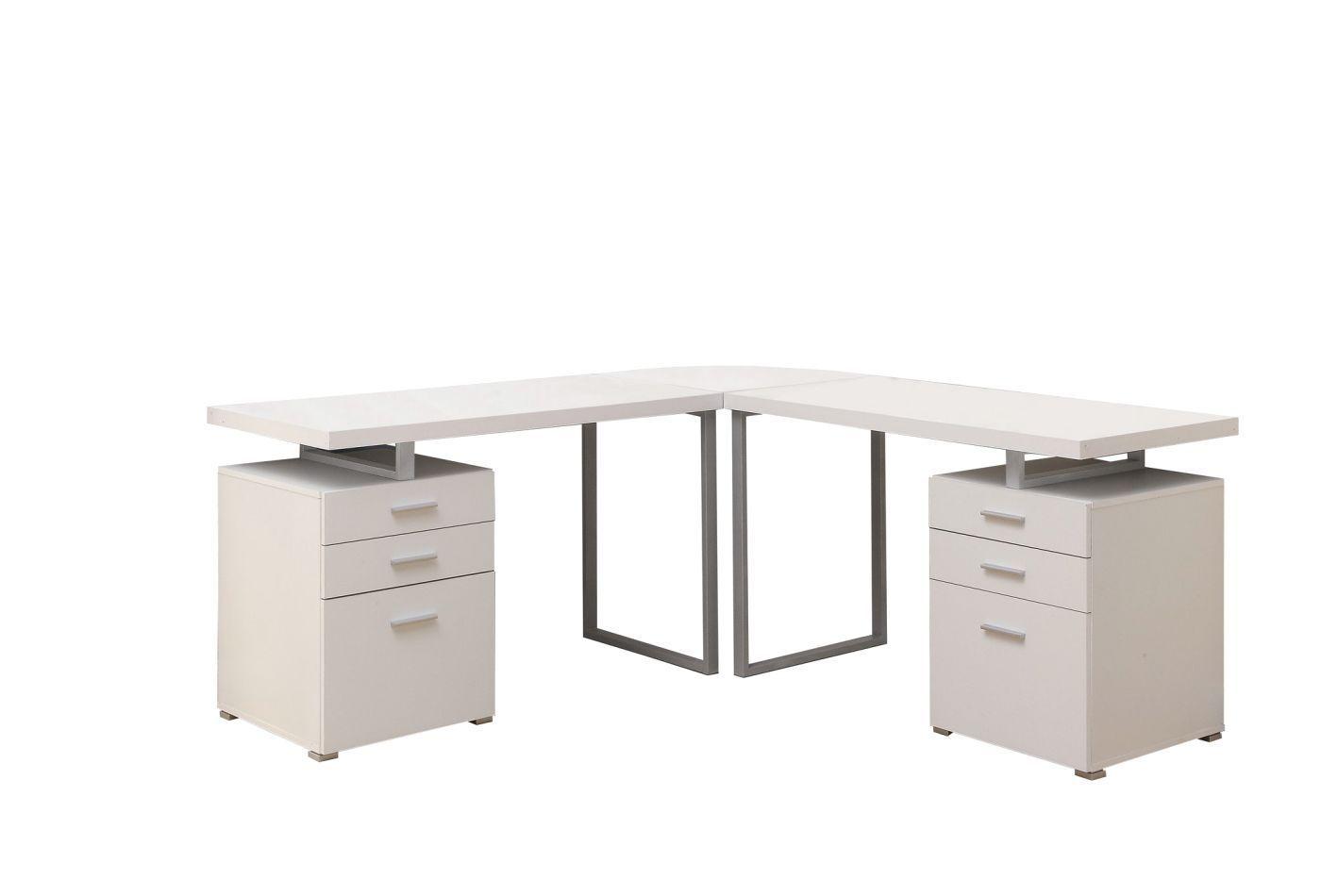 White 3pc Hollow Core L Shaped Desk 2 Desks 1 Corner Wedge L