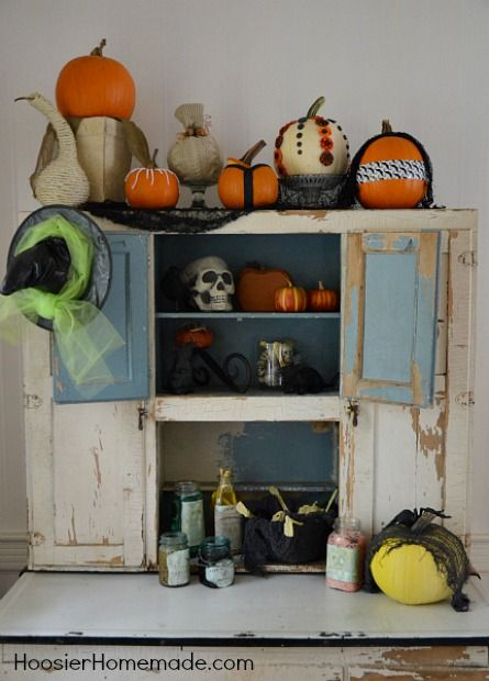 Halloween Decorating Ghoulish Potion Bottles Hoosier cabinet - where can i buy cheap halloween decorations