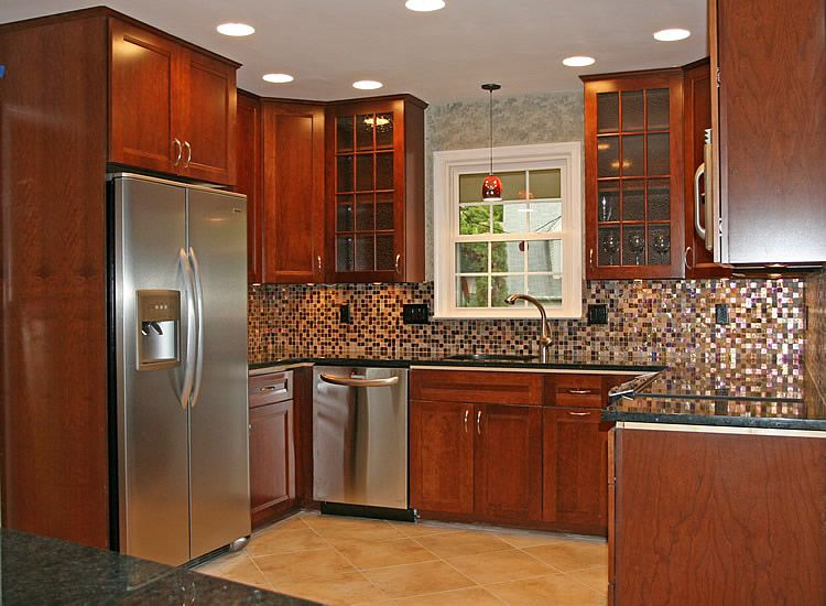 Kitchen Ideas Cherry Cabinets black styles and dark cherry kitchen cabinet doors |  picture
