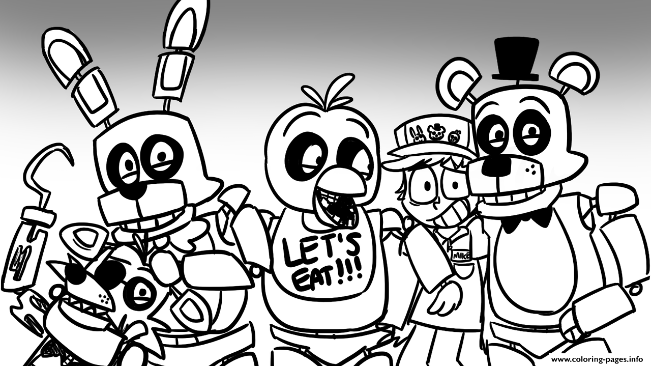 Print Freddy S At Five Nights Fnaf Lets Eat Coloring Pages Bubbas