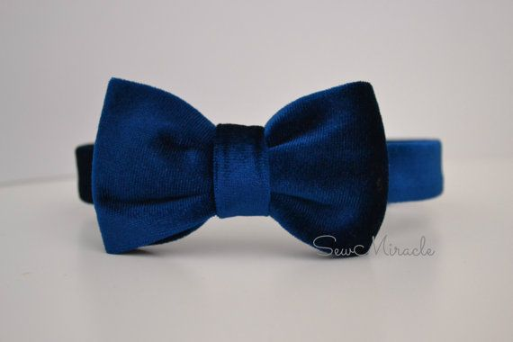 Velvet Bow Tie, navy colour, comes in all sizes, adjustable neck strap, hook and eye, velcro fastening, wedding, handmade accessory