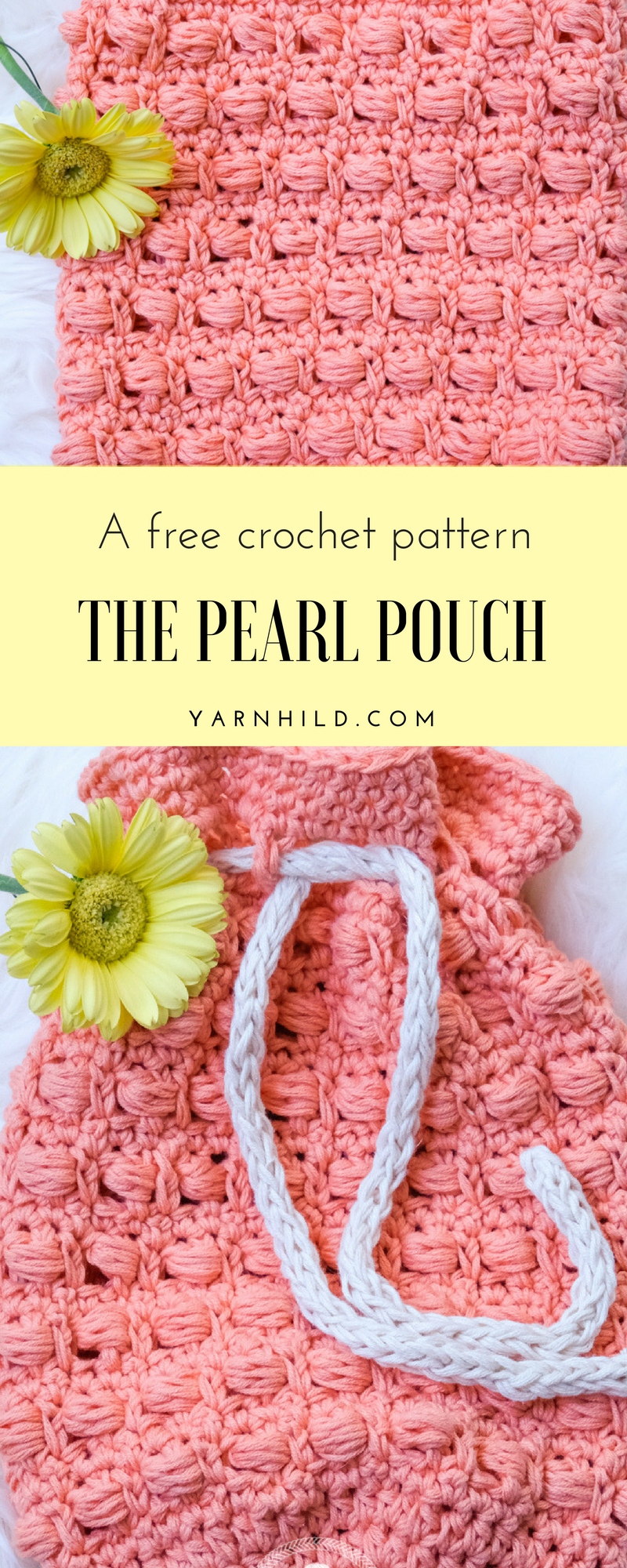 Crochet bag pattern - learn how to crochet a pouch, with video tutorial.