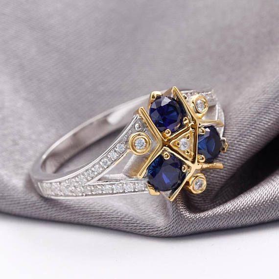 Zora Sapphire Spiritual Stone Engagement Promise Wedding Ring 8 bit