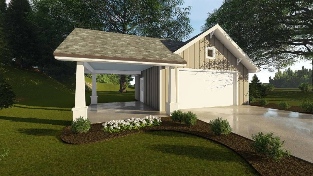 Tapered wood columns, covered carport, and an oversized 2