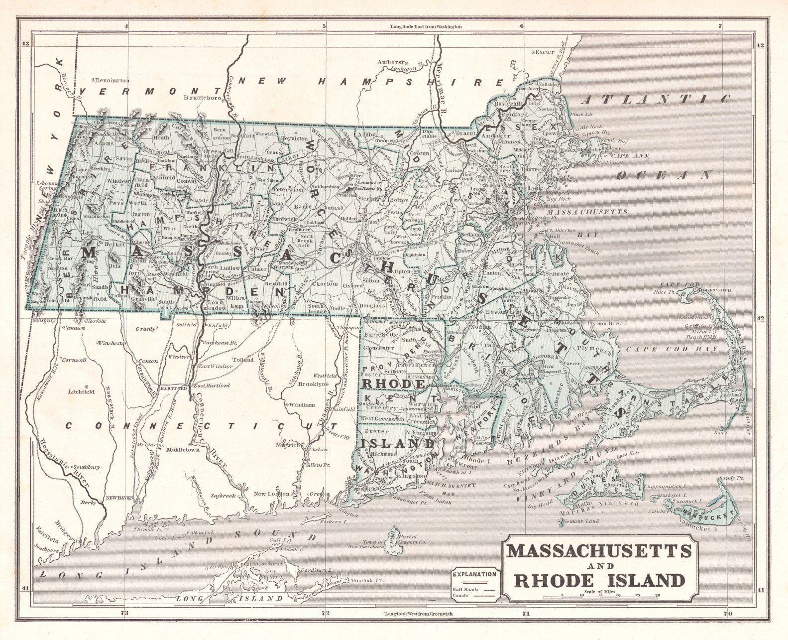 Massachusetts and Rhode Island. Morse & Breese. 1842. Map showing ...