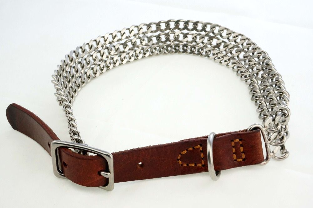 Gujia 8220 High Quality Durable Training Chain Genuine leather+Stainless Steel Dog Collar Buckle chain for Pets chocker