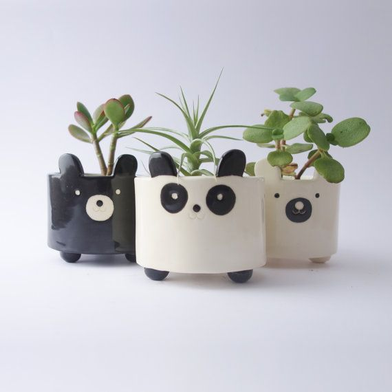 panda bear planter plant pot ceramic pottery white. Black Bedroom Furniture Sets. Home Design Ideas