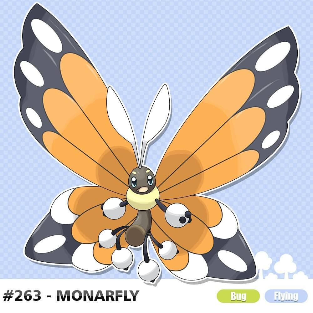 263 Monarfly Type Bug Flying Description Monarch Butterfly Pokemon When Winter Arrives This Pokemon Flies In Group Pokemon Monarch Butterfly Butterfly