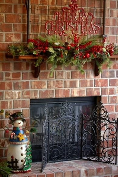 i want to add do this for our living room fireplace - minus the little snowman.