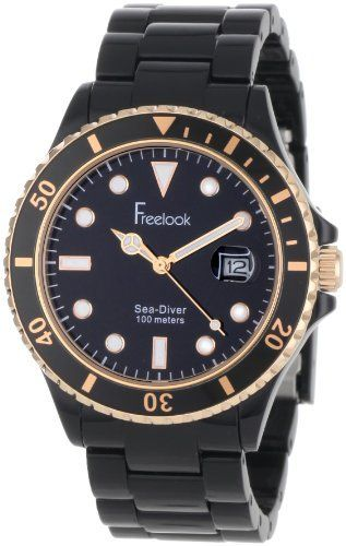 Freelook Men's HA1437B-RG Sea Diver Black and Rose-Gold Accent Watch Freelook. $150.00. Calendar. Plasteramic. Water-resistant to 330 feet (100 M). Unisex. Japanese-Quartz movement