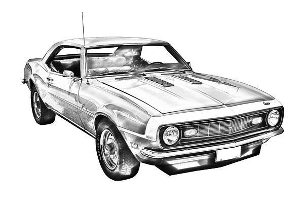 1968 Chevrolet Camaro 327 Muscle Car Illustration By Keith Webber Jr